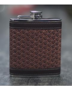 HIP FLASK LEATHERETTE CHECKS